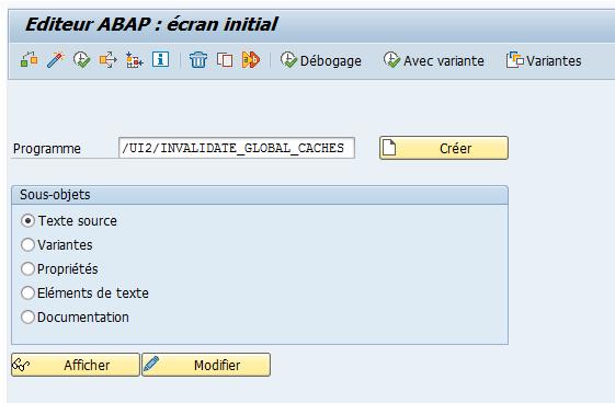 Editeur ABAP : écran initial  Débogage  (è Avec variante  Créer  Variantes  Programme  Sous-objets  ,'rJ12/11w-ALIDATE GLOBAL CACHES  Texte source  o  Variantes  o  Propriétés  o  Eléments de texte  o  Documentation