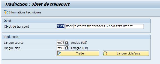 Traduction : objet de transport  *È Informations techniques  Objet  Objet de transport  Traduction  Langue source  Langue cible  enr_ls  RDCC Bgc0E7AFD7ADcD3cE114000E2DE21E7B07  Anglais (US)  Français (FR)